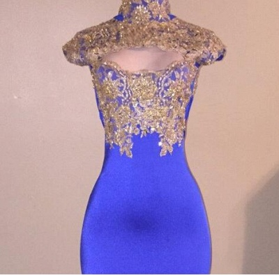High-Neck Mermaid Prom Dress UK | Lace Appliques Evening Gowns BA9010_4