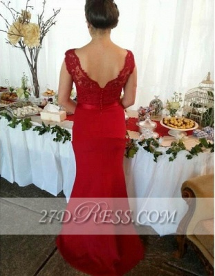 Red V-Neck Lace Bridesmaid Dress UKes UK Sweep Train Prom Gowns with Bottons_3