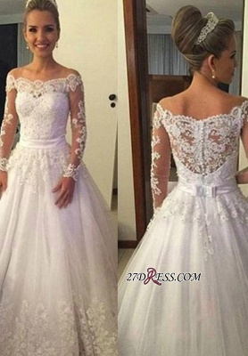 A-line Lace Long-Sleeves Off-the-shoulder Sweep-train Bow Wedding Dress_1