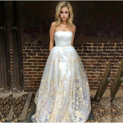 Gorgeous Strapless Prom Dress UK Long Tulle Lace Appliques On Sale_3