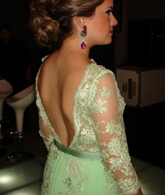 Lace Long Sleeve Open Back Dress UK New Arrival Luxury Gowns for Proms Appliques 3/4 Chiffon Evening_2