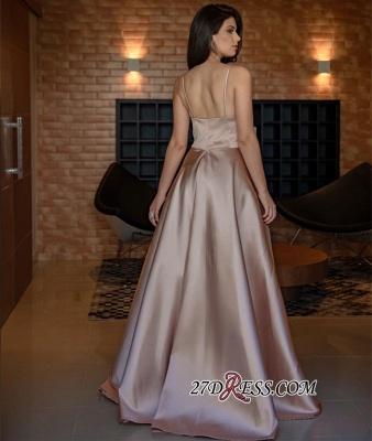 V-Neck Spaghetti-Straps Evening Dress UK | Sleeveless Simple Prom Dress UK_1