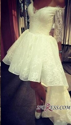A-Line Lace Sexy Off-the-Shoulder Sleeves Hi-lo Prom Dress UK_2