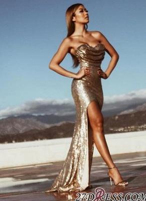Sleeveless Side-Slit Ruched Mermaid Gold-Sequins Elegant Prom Dress UKes UK BA5018_2