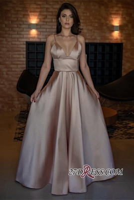 V-Neck Spaghetti-Straps Evening Dress UK | Sleeveless Simple Prom Dress UK_3