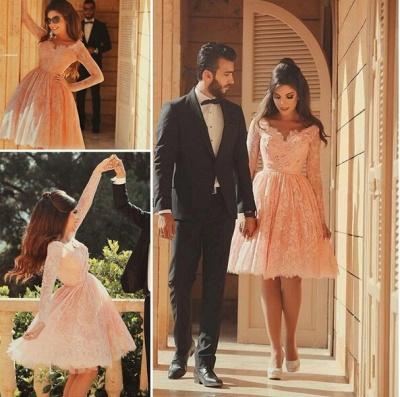 Lovely Long Lace Prom Dress UK Sleeves Little V-neck Short_5