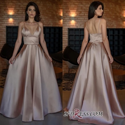 V-Neck Spaghetti-Straps Evening Dress UK | Sleeveless Simple Prom Dress UK_2