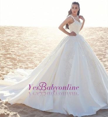 Appliques Straps Satin Ball Elegant Sleeveless Wedding Dress_1