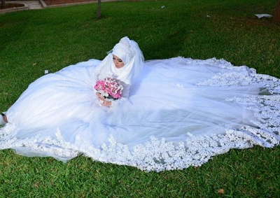 Chic White Tulle Lace Appliques Arabic Wedding Dress Lace-up Long Sleeve_3