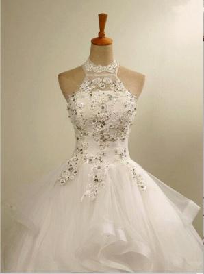 Modern High Neck Lace Appliques Beads Sleeveless Wedding Dress_4