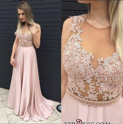 Long Pearls Pink A-line Top Sheer Sleeveless Prom Dress UKes UK_1