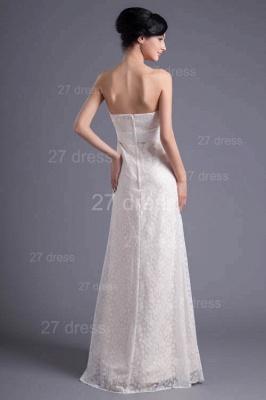 Sexy White Strapless A-line Evening Dress UK Lace Zipper_5