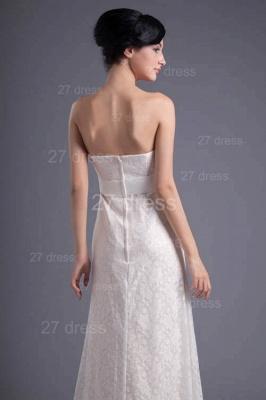 Sexy White Strapless A-line Evening Dress UK Lace Zipper_4