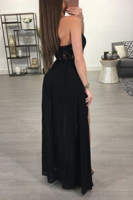 Elegant Black Halter Split Prom Dress UK Lace Chiffon On Sale BA7347_3