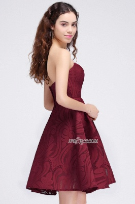 Short Simple Strapless Sleeveless Burgundy A-line Homecoming Dress UK_3