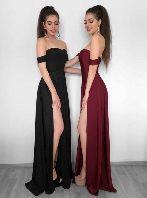 Sexy Off-the-Shoulder 2019 Evening Dress UK | Prom Party Gowns With Slit_1