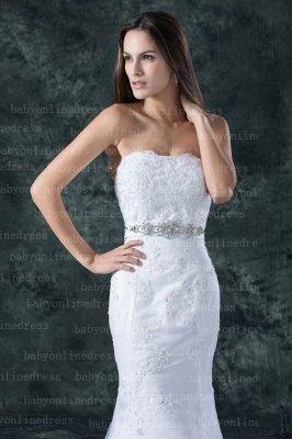 Lace White Beach Wedding Dresses UK Elegent Sexy Mermaid/trumpet Strapless Court Train Lace Beaded Up_4