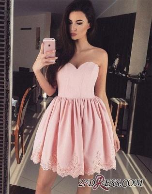 Cute Pink Sweetheart-neck Short Lace Homecoming Dress UK_2