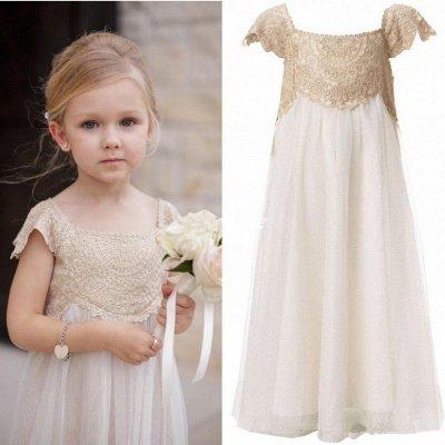 Newest Chiffon A-line Lace Appliques Flower Girl Dress Cap Sleeve_4