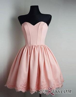 Cute Pink Sweetheart-neck Short Lace Homecoming Dress UK_4