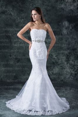 Lace White Beach Wedding Dresses UK Elegent Sexy Mermaid/trumpet Strapless Court Train Lace Beaded Up_1