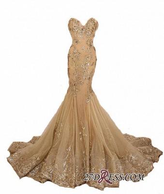 Lace-Up Sweetheart-Neck Lace-Appliques Gold Long Mermaid Prom Dress UKes UK BA5174_1
