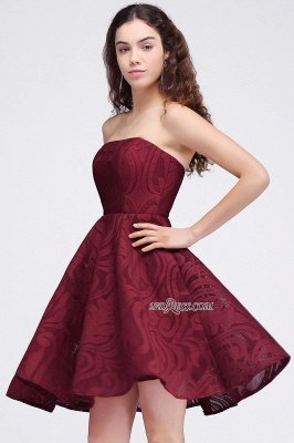 Short Simple Strapless Sleeveless Burgundy A-line Homecoming Dress UK_6