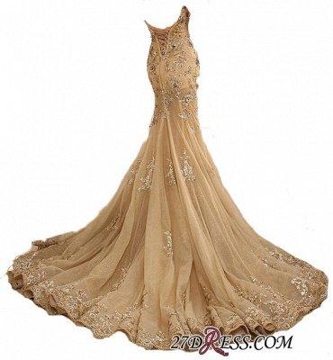 Lace-Up Sweetheart-Neck Lace-Appliques Gold Long Mermaid Prom Dress UKes UK BA5174_2