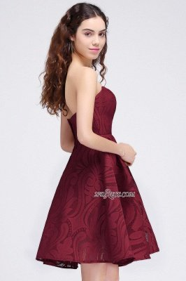 Short Simple Strapless Sleeveless Burgundy A-line Homecoming Dress UK_3