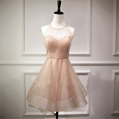 Homecoming Dress UKes UK Sleeveless Mini Elegant A-Line Chiffon Halter Cocktail Dress UKes UK_4
