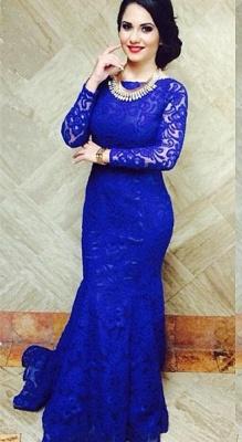Modern Royal Blue Mermaid Lace Prom Dress UK Open Back_4