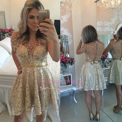 A-line Gold Short-Sleeves Beadings Short Lace Homecoming Dress UK_1