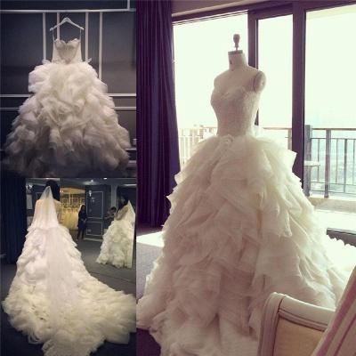 Elegant Ruffles Appliques Beadss Tulle Wedding Dress Spaghetti Strap_5