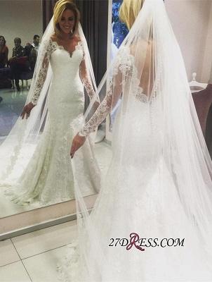 Long-Sleeve Elegant Lace Sexy Mermaid Wedding Dress_2