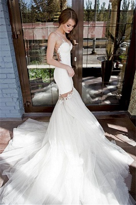 Backless Sexy Mermaid Wedding Dresses UK Spaghetti Straps Appliques Bridal Gowns_1