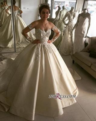 Long sleeve lace wedding dress,princess bridal gowns_1