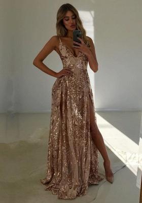 Luxury V-Neck Sequins Evening Dress UK | 2019 Prom Dress UK With Slit_1