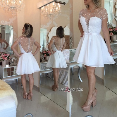 Pearls Delicate Short-Sleeve A-line Zipper Tulle Mini Bow Homecoming Dress UK_3