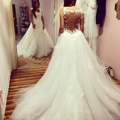 Elegant  Sexy Mermaid Backless Wedding Dresses UK Lace Appliques With Detachable Train_3