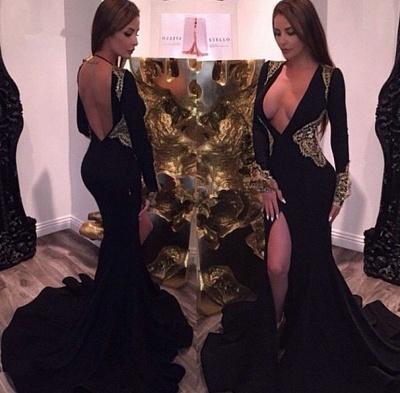Elegant Gold and Black Long Sleeve Prom Dress UKes UK Mermaid Deep V-neck BA2555 BK0_3