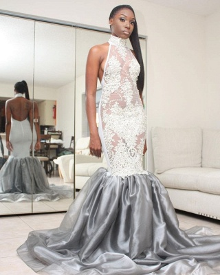 Halter Lace Prom Dress UK | Mermaid Backless Evening Gowns_3