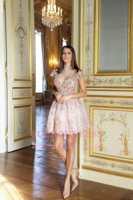 Occasion Lace Sexy Short Special Pink Long-Sleeve High-Neck Homecoming Dress UKes UK BA7055_1