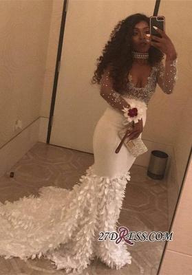 White long sleeve prom Dress UK, v-neck mermaid evening party Dress UK BK0 BA8157_2