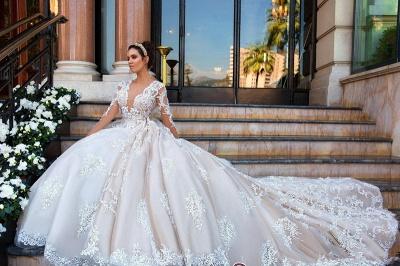 Court-Train Elegant Lace Long-Sleeve Princess Wedding Dress_3