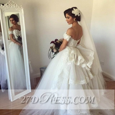 Elegant Sweetheart Tulle Wedding Dresses UK Tiered Lace Bridal Gowns_3