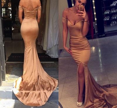 Elegant Off the Shoulder Mermaid Evening Dress UK Zipper Back Prom Gown_1
