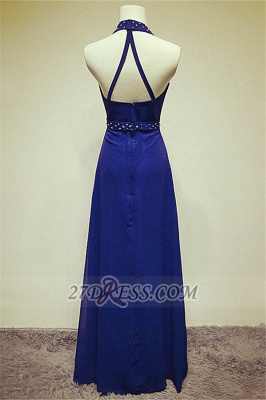 Sexy High Neck Long Chiffon Evening Dress UKes UK Beadings Crystals Prom Gowns_2