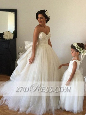 Elegant Sweetheart Tulle Wedding Dresses UK Tiered Lace Bridal Gowns_2