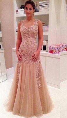 Delicate Lace Appliques Mermaid Prom Dress UK Zipper Straps Sleeveless_1