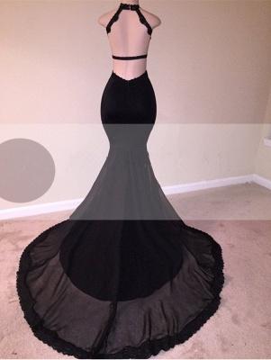 Black Lace Prom Dress UK | Halter Party Dress UK With Appliques  BA8130_3